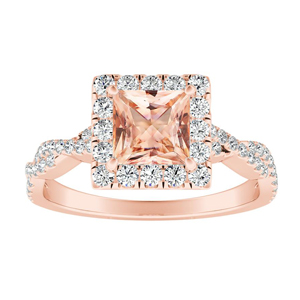 ALICE Halo Morganite Engagement Ring In 14K Rose Gold With 4.00 Carat Princess Stone
