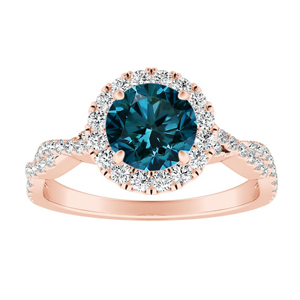 ALICE Halo Blue Diamond Engagement Ring In 14K Rose Gold With 0.50 Carat Round Diamond