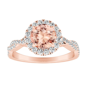 ALICE Halo Morganite Engagement Ring In 14K Rose Gold With 4.00 Carat Round Stone