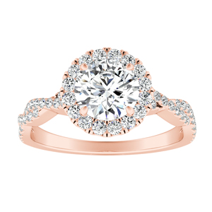 ALICE Halo Diamond Engagement Ring 14K Rose Gold