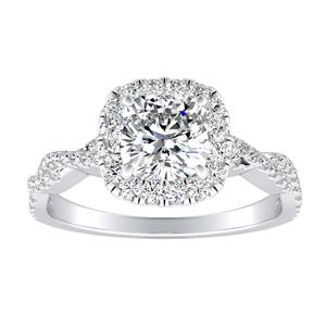 ALICE Halo Diamond Engagement Ring 14K White Gold