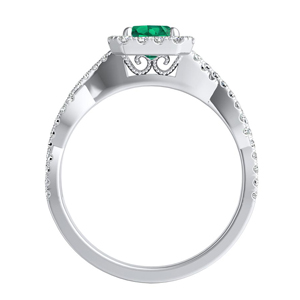 ALICE  Halo  Green  Emerald  Engagement  Ring  In  14K  White  Gold  With  0.50  Carat  Emerald  Stone