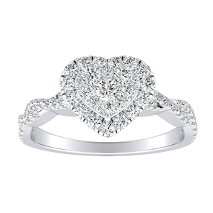 ALICE Halo Diamond Engagement Ring In 14K White Gold With Heart Diamond In H-I SI1-SI2 Quality
