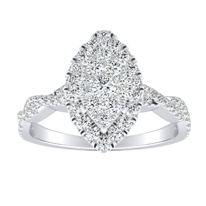 ALICE Halo Diamond Engagement Ring In 14K White Gold With Marquise Diamond In H-I SI1-SI2 Quality