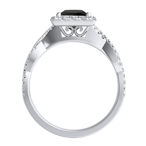 ALICE  Halo  Black  Diamond  Engagement  Ring  In  14K  White  Gold  With  1.00  Carat  Princess  Diamond