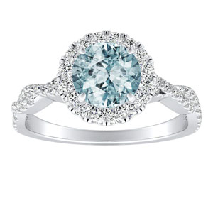 ALICE Halo Aquamarine Engagement Ring In 14K White Gold With 1.00 Carat Round Stone
