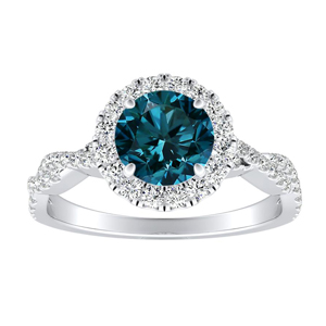 ALICE Halo Blue Diamond Engagement Ring In 14K White Gold With 0.30 Carat Round Diamond