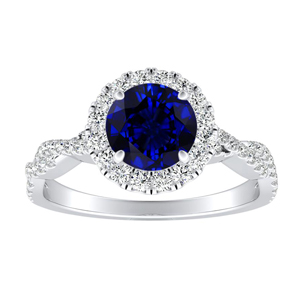 ALICE Halo Blue Sapphire Engagement Ring In 14K White Gold With 0.30 Carat Round Stone