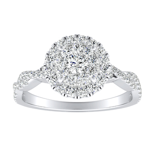 ALICE Halo Diamond Engagement Ring In 14K White Gold With Round Diamond In H-I SI1-SI2 Quality