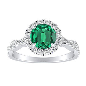 ALICE Halo Green Emerald Engagement Ring In 14K White Gold With 0.50 Carat Round Stone