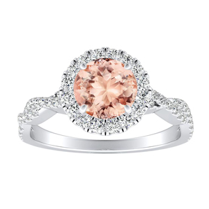 ALICE Halo Morganite Engagement Ring In 14K White Gold With 1.00 Carat Round Stone