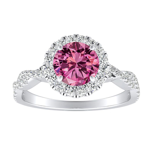 ALICE Halo Pink Sapphire Engagement Ring In 14K White Gold With 0.30 Carat Round Stone