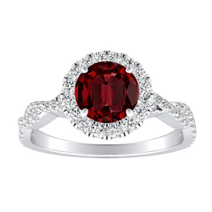 ALICE Halo Ruby Engagement Ring In 14K White Gold With 0.30 Carat Round Stone