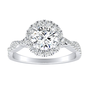 ALICE Halo Moissanite Engagement Ring In 14K White Gold With 0.50 Carat Round Stone
