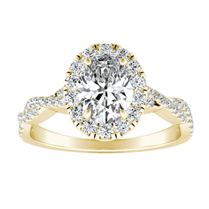 ALICE Halo Diamond Engagement Ring 14K Yellow Gold With 0.75ct. Oval Diamond