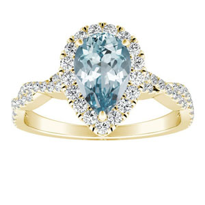 ALICE  Halo  Aquamarine  Engagement  Ring  In  14K  Yellow  Gold  With  1.00  Carat  Pear  Stone