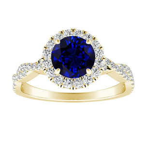 ALICE Halo Blue Sapphire Engagement Ring In 14K Yellow Gold With 0.50 Carat Round Stone