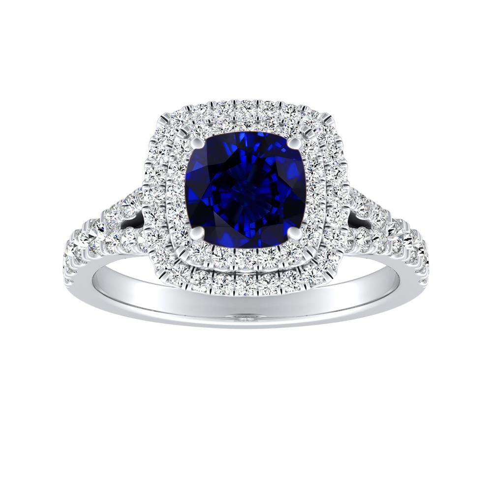 ALYSSA Double Halo Blue Sapphire Engagement Ring In 14K White Gold With 0.30 Carat Cushion Stone