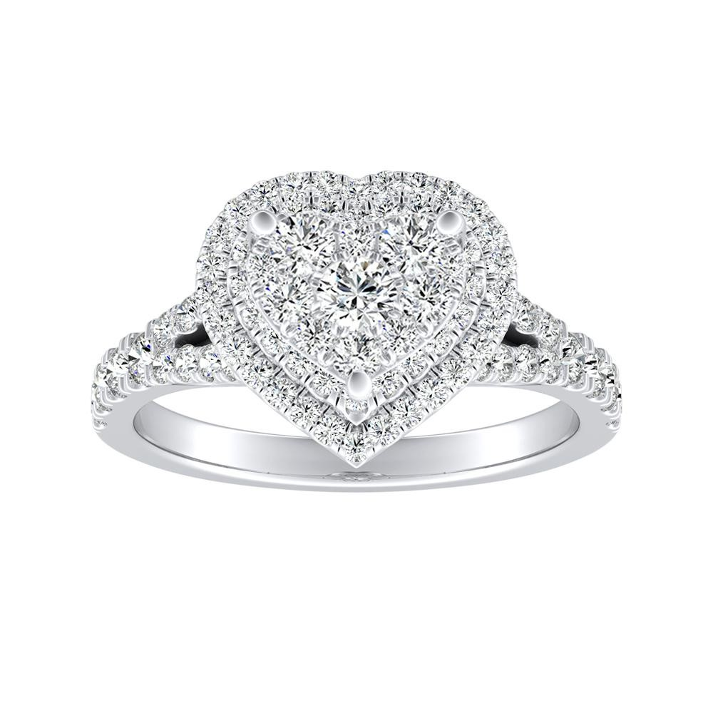 ALYSSA Double Halo Diamond Engagement Ring In 14K White Gold With Heart Diamond In H-I SI1-SI2 Quality