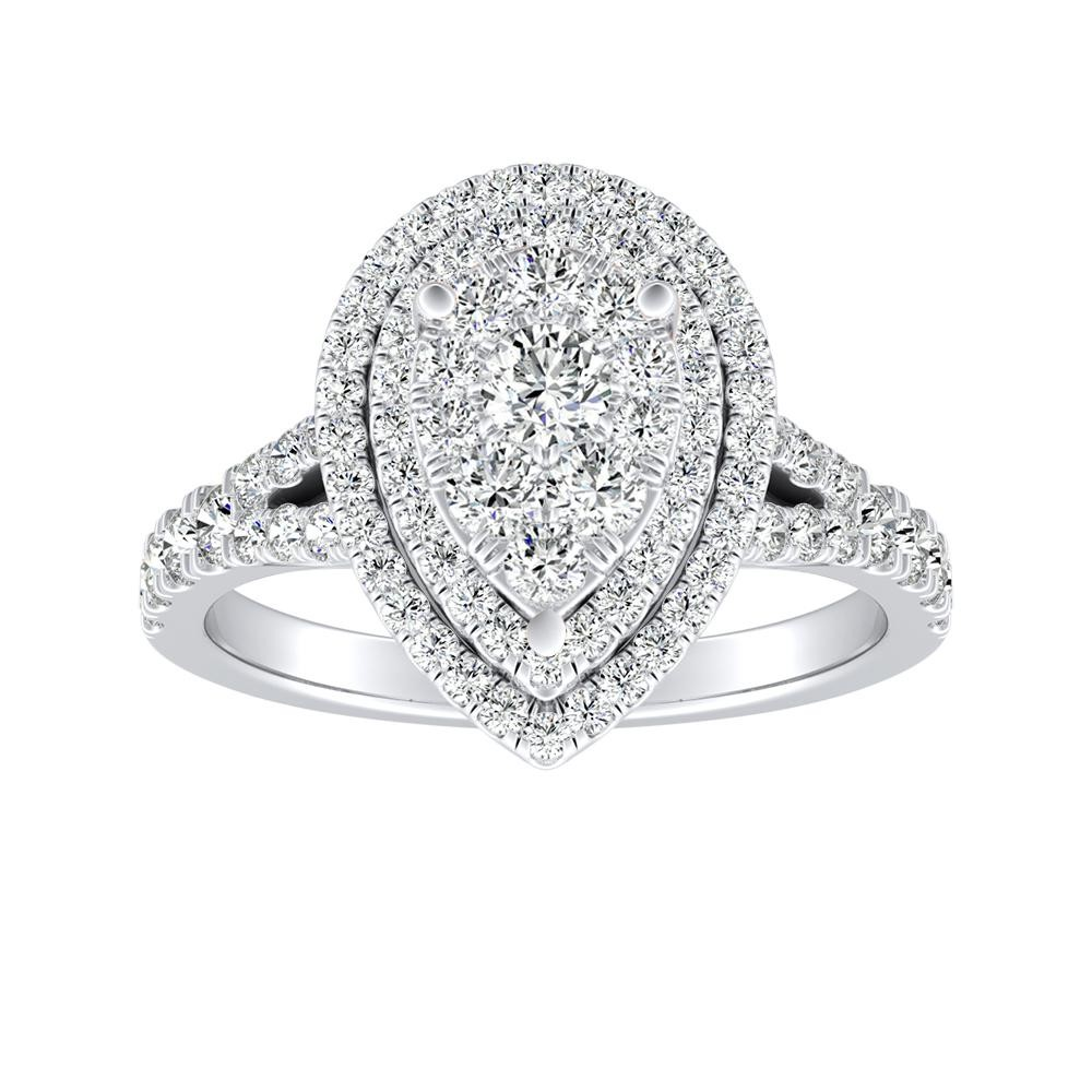 ALYSSA Double Halo Diamond Engagement Ring In 14K White Gold With Pear Diamond In H-I SI1-SI2 Quality