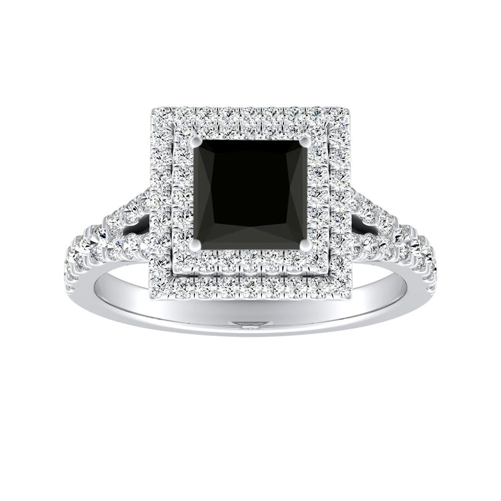 ALYSSA Double Halo Black Diamond Engagement Ring In 14K White Gold With 1.00 Carat Princess Diamond