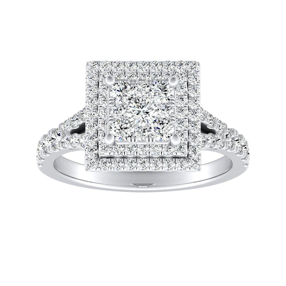 ALYSSA Double Halo Diamond Engagement Ring In 14K White Gold With Princess Diamond In H-I SI1-SI2 Quality