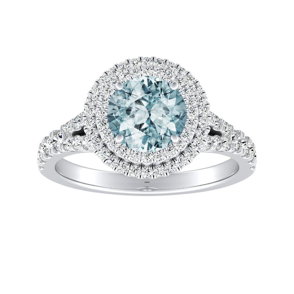 ALYSSA Double Halo Aquamarine Engagement Ring In 14K White Gold With 1.00 Carat Round Stone