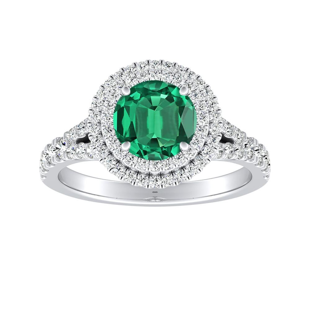 ALYSSA Double Halo Green Emerald Engagement Ring In 14K White Gold With 0.50 Carat Round Stone