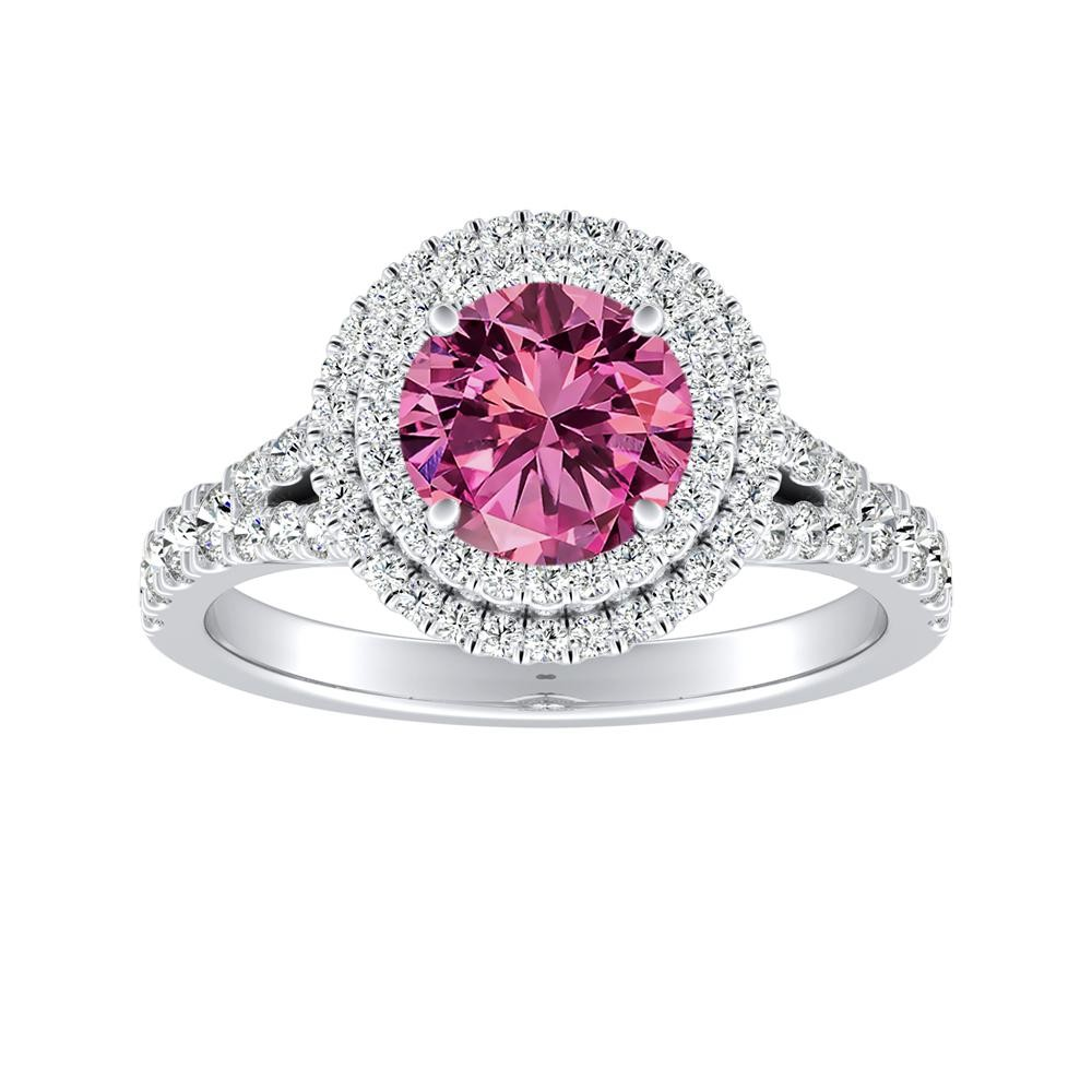 ALYSSA Double Halo Pink Sapphire Engagement Ring In 14K White Gold With 0.30 Carat Round Stone