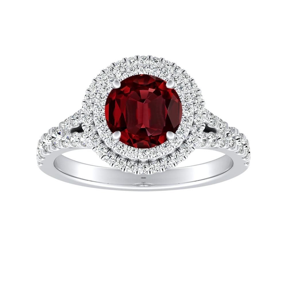 ALYSSA Double Halo Ruby Engagement Ring In 14K White Gold With 0.50 Carat Round Stone