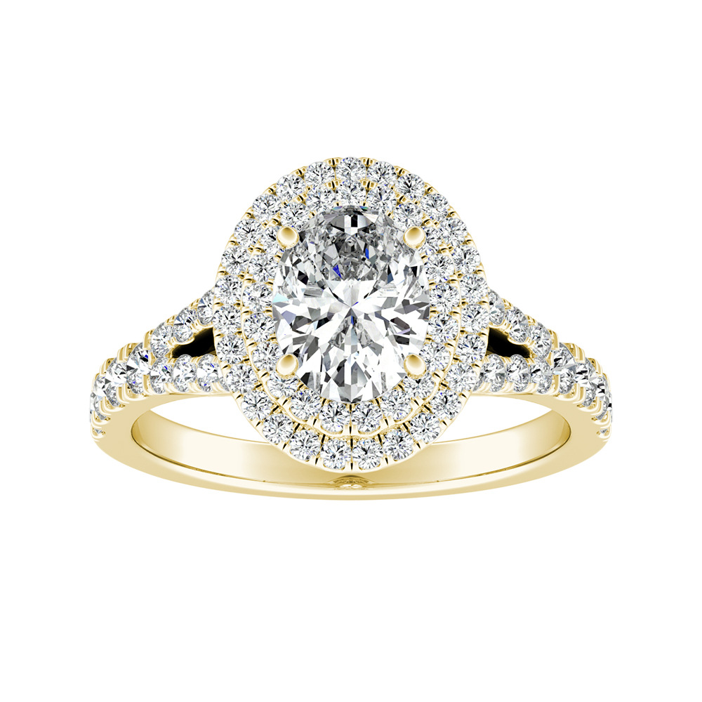 ALYSSA Double Halo Diamond Engagement Ring In 14K Yellow Gold
