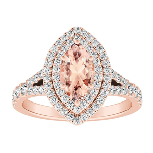 ALYSSA Double Halo Morganite Engagement Ring In 14K Rose Gold With 1.00 Carat Marquise Stone