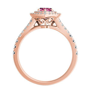 ALYSSA  Double  Halo  Pink  Sapphire  Engagement  Ring  In  14K  Rose  Gold  With  0.50  Carat  Marquise  Stone
