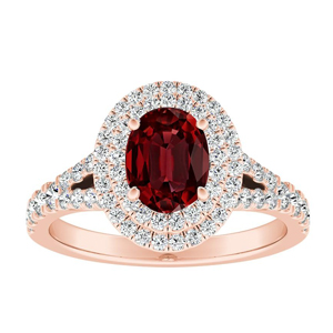ALYSSA Double Halo Ruby Engagement Ring In 14K Rose Gold With 0.50 Carat Oval Stone