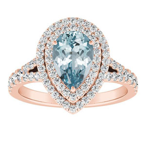 ALYSSA Double Halo Aquamarine Engagement Ring In 14K Rose Gold With 1.00 Carat Pear Stone