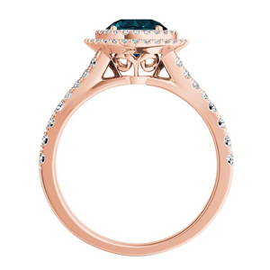 ALYSSA  Double  Halo  Blue  Diamond  Engagement  Ring  In  14K  Rose  Gold  With  0.50  Carat  Round  Diamond