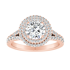 ALYSSA Double Halo Diamond Engagement Ring In 14K Rose Gold