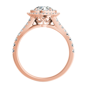 ALYSSA  Double  Halo  Moissanite  Engagement  Ring  In  14K  Rose  Gold  With  0.50  Carat  Round  Stone