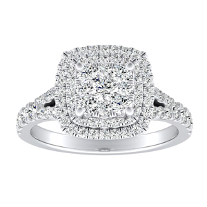 ALYSSA Double Halo Diamond Engagement Ring In 14K White Gold With Cushion Diamond In H-I SI1-SI2 Quality