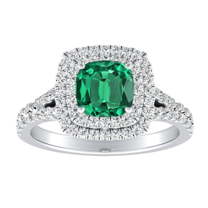 ALYSSA Double Halo Green Emerald Engagement Ring In 14K White Gold With 0.50 Carat Cushion Stone