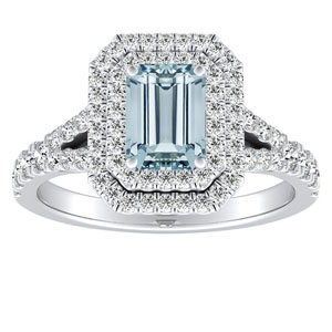 ALYSSA Double Halo Aquamarine Engagement Ring In 14K White Gold With 1.00 Carat Emerald Stone