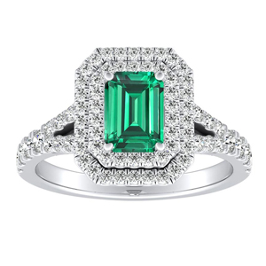 ALYSSA  Double  Halo  Green  Emerald  Engagement  Ring  In  14K  White  Gold  With  0.50  Carat  Emerald  Stone