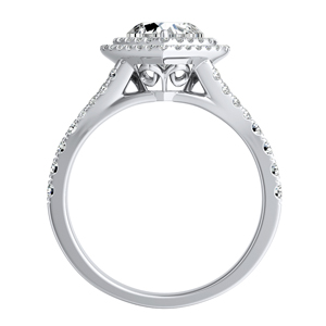 ALYSSA Double Halo Diamond Engagement Ring In 14K White Gold