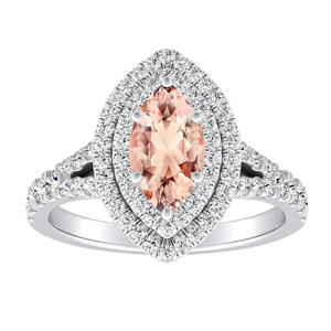 ALYSSA Double Halo Morganite Engagement Ring In 14K White Gold With 1.00 Carat Marquise Stone