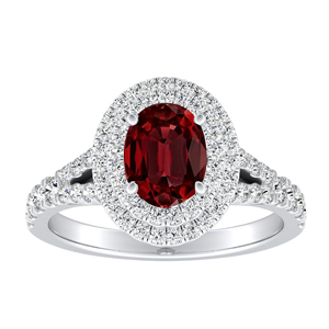 ALYSSA Double Halo Ruby Engagement Ring In 14K White Gold With 0.50 Carat Oval Stone