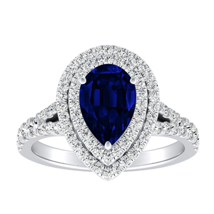 ALYSSA  Double  Halo  Blue  Sapphire  Engagement  Ring  In  14K  White  Gold  With  0.50  Carat  Pear  Stone