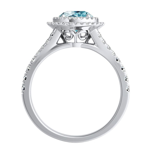 ALYSSA  Double  Halo  Aquamarine  Engagement  Ring  In  14K  White  Gold  With  1.00  Carat  Round  Stone