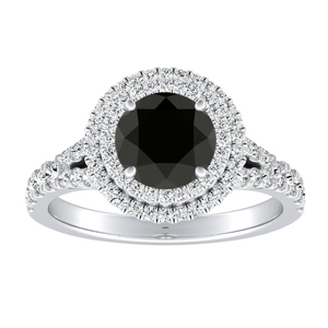 ALYSSA Double Halo Black Diamond Engagement Ring In 14K White Gold With 0.50 Carat Round Diamond