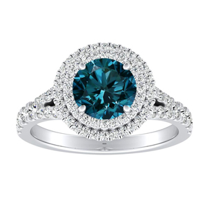 ALYSSA  Double  Halo  Blue  Diamond  Engagement  Ring  In  14K  White  Gold  With  0.50  Carat  Round  Diamond