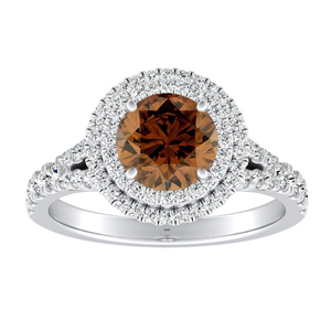 ALYSSA Double Halo Brown Diamond Engagement Ring In 14K White Gold With 0.30 Carat Round Diamond